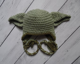 Yoda Hat, Crochet Yoda Hat, Baby Boy Hat, Made to Order