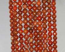 4-5mm Brick Red Jasper Gemstone Dark Brown Round Loose Beads 15 inch Full Strand (90184911-900)