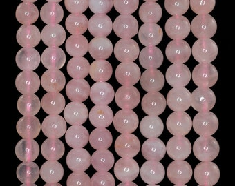 6mm Madagascar Rose Quartz Gemstone Pink Round Loose Beads 15.5 inch Full Strand (90183663-373)