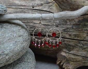 Sterling Silver & Red Swarovski Crystal Earrings