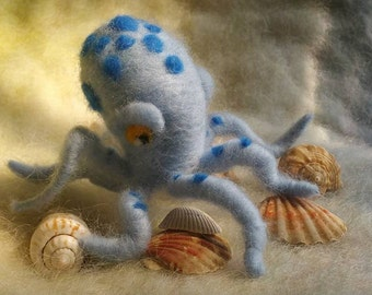 Needle Felted Octopus, Blue Octopus, Handmade, Sea Creatures,Needle Felted Animals