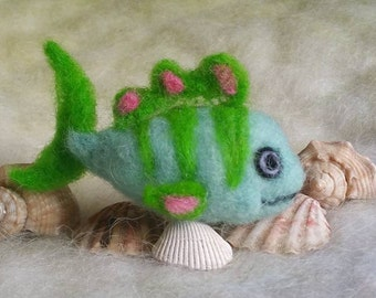 Needle Felted Fish, Blue Green Fish, Handmade, Sea Creatures, Needle Felted Animals