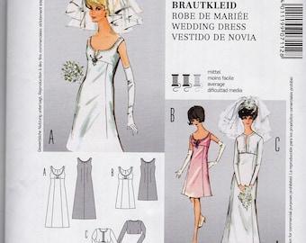 "BURDA 7112 60""s RETRO WEDDING Dress or Cocktail Dress Ms Sz 8-18 Uncut Factory Folded"