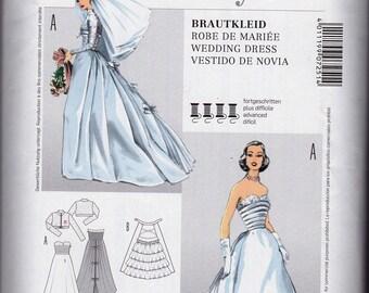 BURDA 7251 50's RETRO WEDDING Gown Extraordinary with Detachable Train Ms Sz 10-18 Uncut Factory Folded