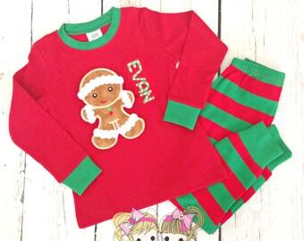 Kids Christmas Pajamas - Gingerbread Pajamas - PRE- ORDER - Holiday Pajamas - Custom Embroidered PJ's - Red and green striped pajamas