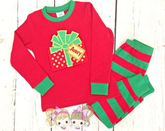 Kids Christmas Pajamas - Christmas Present - Holiday Pajamas - Custom embroidered PJ's - Personalized Christmas Pajamas - IN STOCK
