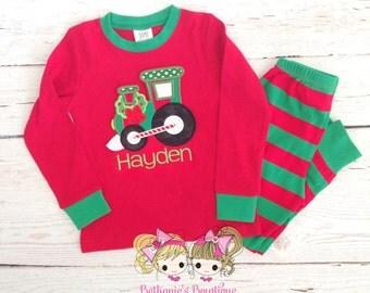 Christmas Pajamas - Train Pajamas - Holiday PJ's - Custom embroidered pajamas - Red and green striped pajamas - Boys pajamas - IN STOCK