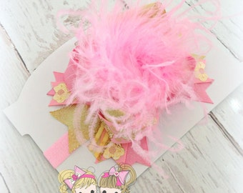 Pink and Gold OTT boutique Bow with ostrich feathers- Gold Sparkle- Custom hair bow