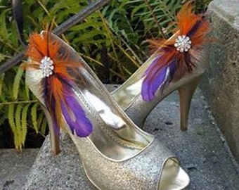 Wedding Shoe Clips, Bridal SHoe CLips, Feather Shoe Clips, Bridal Accessories, Wedding Accessories for Bridal Shoes, Wedding Shoes