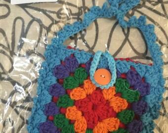 Crocheted Granny Square Purse #121