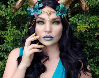 Gold and teal horn headdress