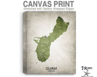 Guam Map Stretched Canvas Print - Home Is Where The Heart Is Love Map - Original Personalized Map Print on Canvas