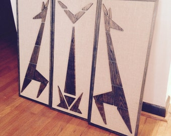 Mad Men Cat Giraffe Mid Century Modern Eames Era Triptych Art