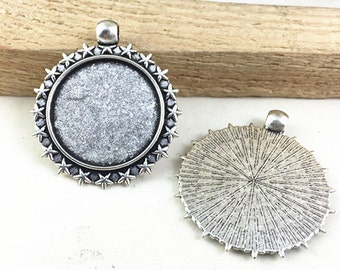 Cabochon Base Setting -10pcs Antique Silver Round Bezel Tray Charm Pendants 25mm AB507-6