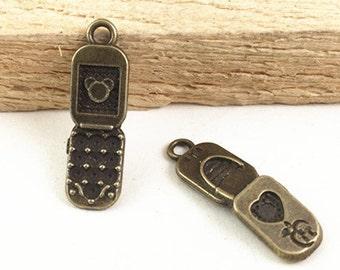 25pcs Antique Bronze Cellphone Charm Pendants 18x24mm G206-6