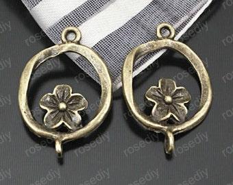 25pcs Antique Bronze Flower Connector Charm Pendants 15mm TB8002