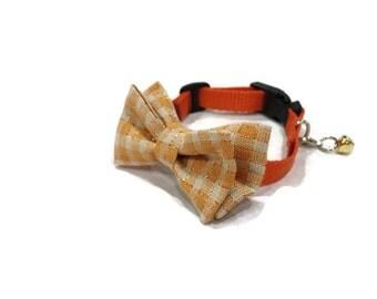 Orange Plaid Bow Tie Cat Collar - Halloween Cat Collar - Thanksgiving Cat Collar - Bow Tie Cat Collar-Plaid Cat Collar-Fall Cat Collar