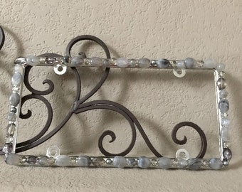 Bling License Plate Frame - Shades of Gray Marbled Stone and Crystal Beaded #A247678832