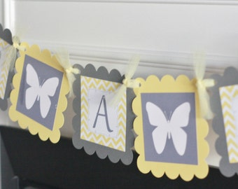 """Yellow & Grey Chevron - """"It's a Girl"""" """"Its a Boy"""" or """"Mommy to Be"""" Butterfly Baby Shower Banner - Ask About Party Pack Specials"""