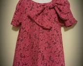 Pink Faux Lace Grace Dress w/ Bow and Matching headwrap