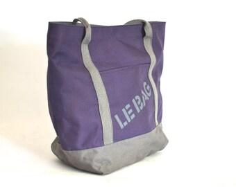 Vintage 90s Reusable Purple Canvas Tote Bag - Le Bag -
