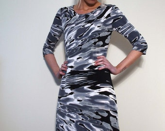 Black Grey and White Print Jersey Dress with Long or 3/4 Sleeves
