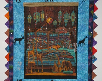 """Dreams of Africa art quilt wall hanging 38"""" x 48"""""""