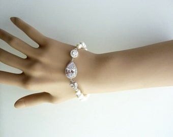 Bridal Pearl Bracelet Teardrop Cubic Zirconia with Cream Ivory or White Pearl