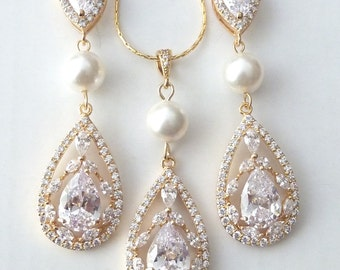 Bridal Earrings Necklace SET YELLOW GOLD Fancy Cubic Zirconia and Pearl Yellow Gold Wedding Jewelry