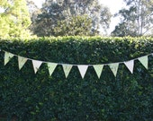 Fabric Bunting - Woodland Theme Bunting -  Photo Prop, Party Decor, Fabric Garland - Fox Badger Trees Woodland Green and White