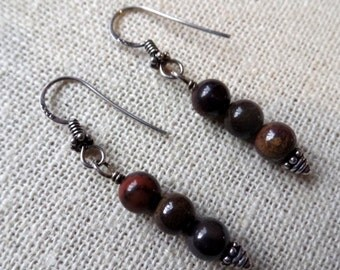 Natural Tiger Iron, Hematite and .925 Bali Sterling Silver Earrings - Handcrafted