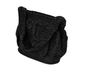 Art Deco Black Glass Seed Bead Purse // Large Vintage Iridescent Beaded Evening Bag // 1920s Sparkling Black Beaded Formal Cocktail Handbag