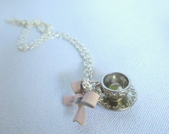 Teacup Necklace, Silver, Teatime, Pink Bow
