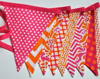 pink and orange girls fabric banner bunting, birthday party decoration, photo prop, girls room dorm decor