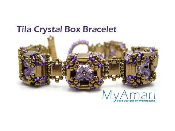 Tila Crystal Box Bracelet Tutorial // Beading Pattern // Lavender, Bronze // Beadweaving // Tila Bead Pattern//