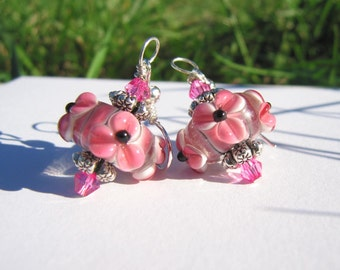 Pink & Black Lampwork Bead Earrings -  One Of A Kind  - Breast Cancer Inspired Cause