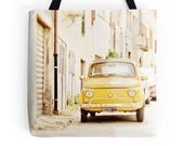 Car Tote Bag, Italy, Fiat 500, Classic Car, Travel Bag, Oldtimer, Vintage Car, Yellow, European, Retro, Market Bag, Book Tote, Shopper