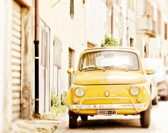 Car Print, Italy Photography, Fiat 500, Yellow, European Art, Large Wall Decor, Travel Photo, Nursery Decor, Office, Whimsical Home Decor