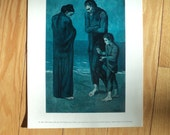 "Vintage Picasso Art Print from the oil painting titled ""The Tragedy"" painted by Pablo Picasso in 1903 during his blue period of art work"