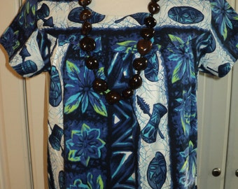 Retro Full Length  MUMU Lounging Gown in Mint Condition with wonderful retro blue and white kawaii design prints and Made in Hawaii