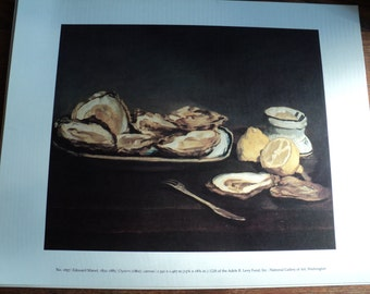 YUMMY!  An Oysters Still Life Lithographic Print of Delicious, Delectable, Delightful Oysters by Edouard Manet in 1862, in rich dark tones