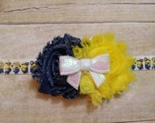 Yellow Helper  with Shabbie Flowers soft FOE HEADBAND