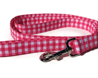 Dog Leash in Pink Gingham  for Small to Large Dogs