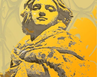 Woman Statue Digital Photo, Art Deco, Download, Fine Art Print, Photograph, Wall Art, Orange Yellow  6 x 8 inches