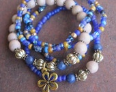 Gypsy Boho Stack Bracelets with Flower Charm