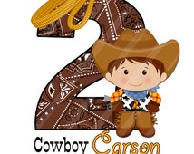 Little Cowboy Large Digital  for iron-ons, heat transfer, Scrapbooking, Cards, Tags, Invitations, DIY, Personalized