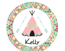 Tribal Tee Pee Pink Tent Digital Download for iron-ons, heat transfer, Scrapbooking, Cards, Tags, Invitations, DIY, Personalized YOU PRINT