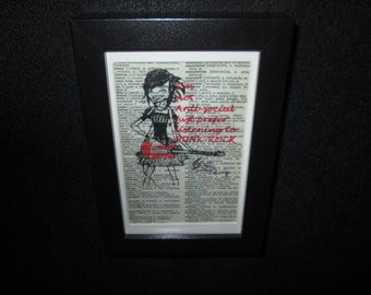 Punk Rocker Print on vintage dictionary page