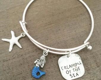 Mermaid Charm Bracelet Silver Blue Ocean Inspired Under The Sea