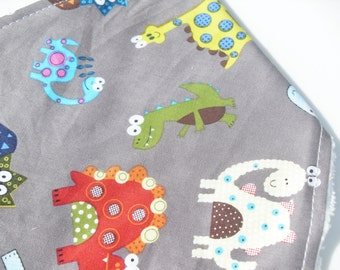 Baby Bib Bandana Dinosaur Cotton design - Adjustable baby bib - Baby Gift Idea